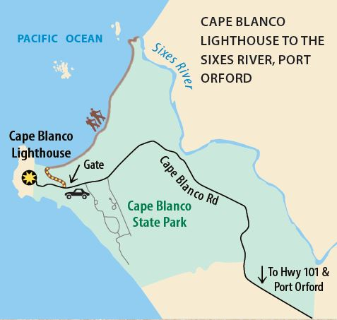 Cape Blanco Lighthouse to the Sixes River, Port Orford